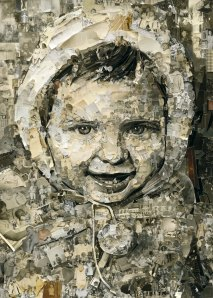 A floor-sized portrait of a photo by Vik Muniz of one of the Rio women—was turned into art by the trash-pickers themselves, using items from landfill.